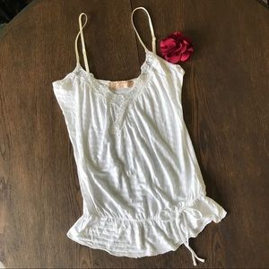 Zara White Tank Top Sequin & Lace Detail Size Med